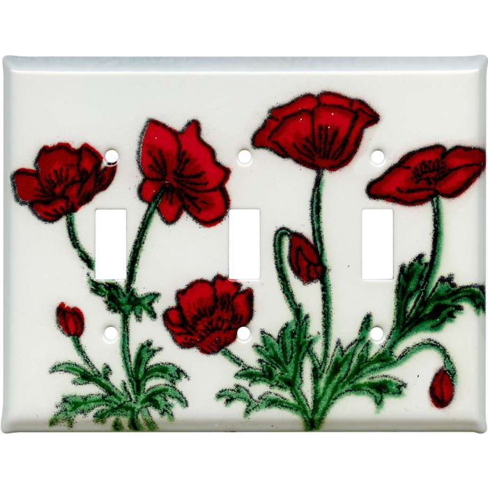 Poppy Triple 3 Toggle Light Switch Covers