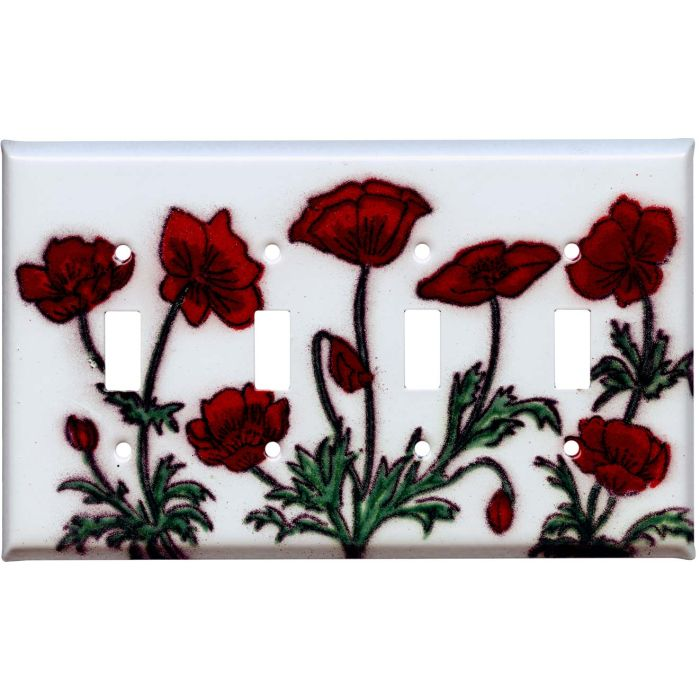 Poppy Quad 4 Toggle Light Switch Covers
