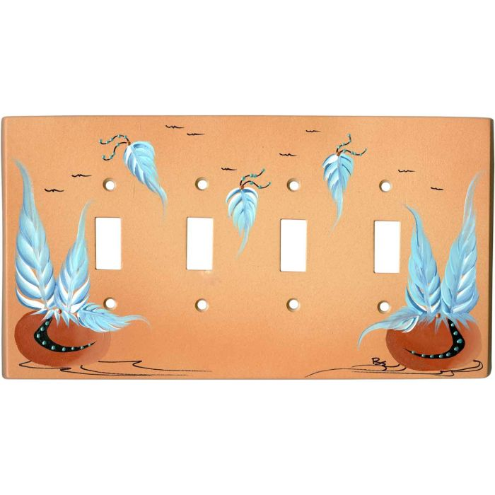 Pottery with Feathers on Sand Quad 4 Toggle Light Switch Covers