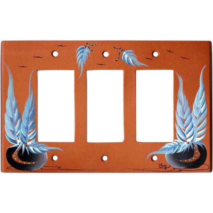 Pottery with Feathers on Terra Cotta Triple 3 Rocker GFCI Decora Light Switch Covers