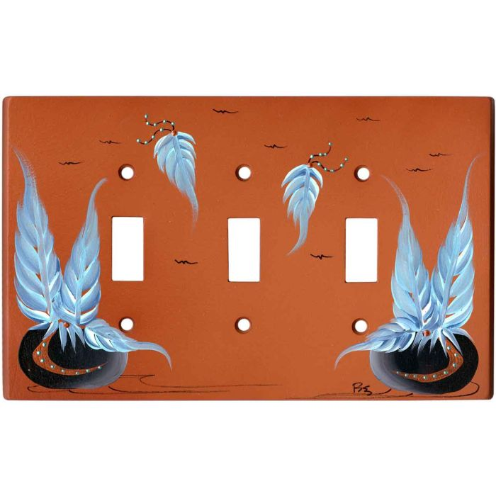 Pottery with Feathers on Terra Cotta Triple 3 Toggle Light Switch Covers