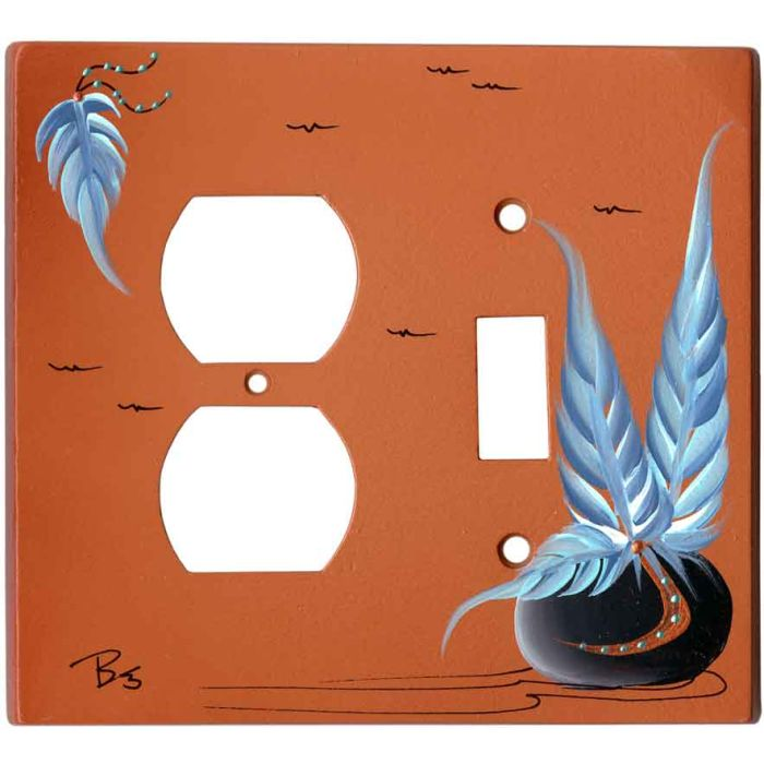 Pottery with Feathers on Terra Cotta 1-Duplex / 1-Toggle - Combination Wall Plates