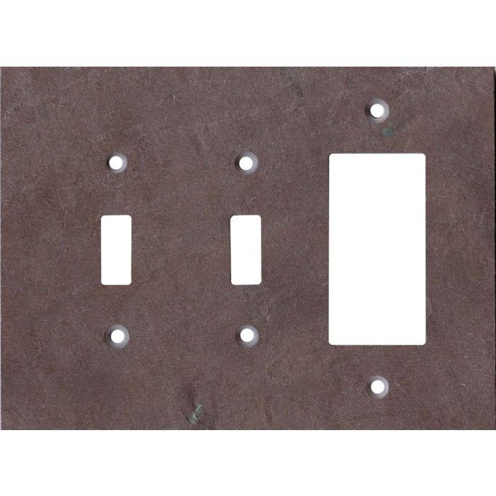 Vermont Purple Slate Double 2 Toggle / 1 GFCI Rocker Combo Switchplates