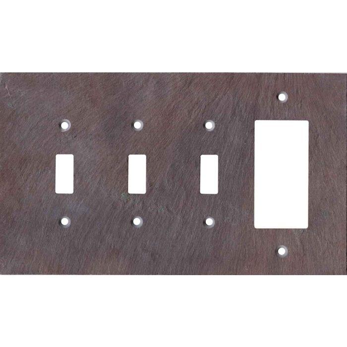 Vermont Purple Slate Triple 3 Toggle / 1 Rocker GFCI Switch Covers