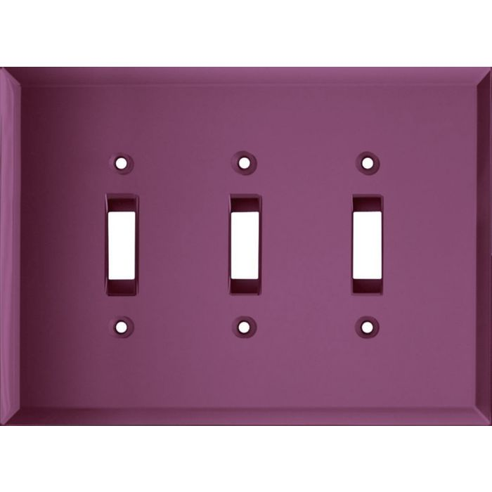 Glass Mirror Purple Triple 3 Toggle Light Switch Covers