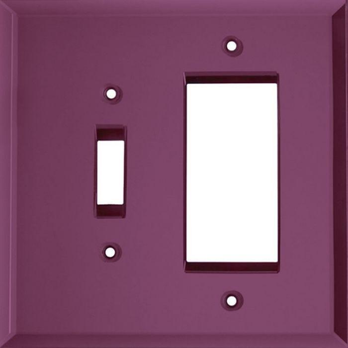 Glass Mirror Purple Combination 1 Toggle / Rocker GFCI Switch Covers