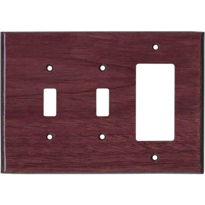 Purpleheart Satin Lacquer - 2 Toggle/1 GFCI Rocker Switchplates