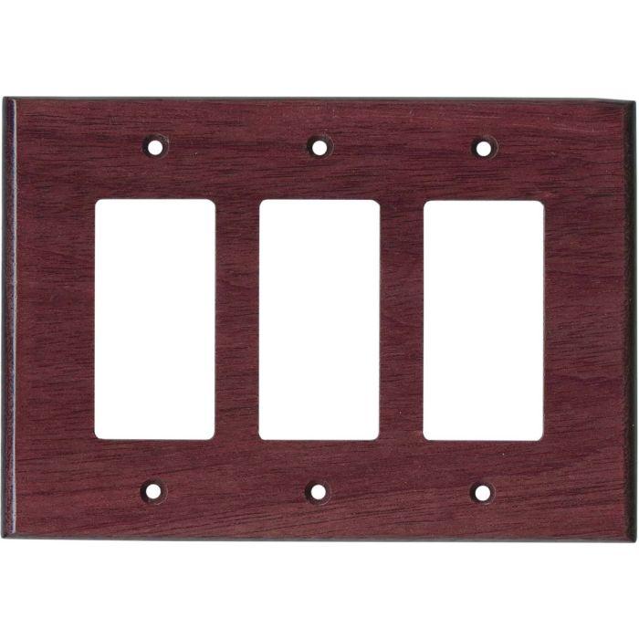 Purpleheart Satin Lacquer Triple 3 Rocker GFCI Decora Light Switch Covers