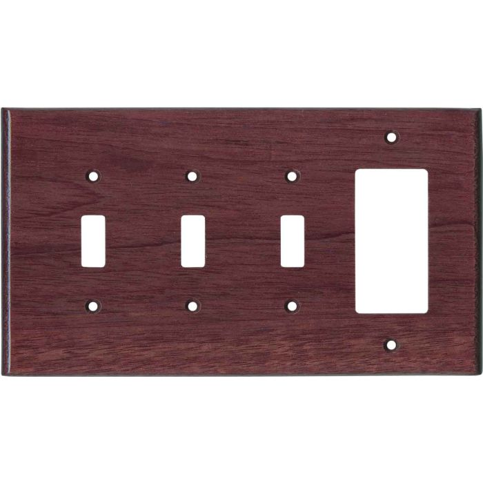 Purpleheart Satin Lacquer Triple 3 Toggle / 1 Rocker GFCI Switch Covers
