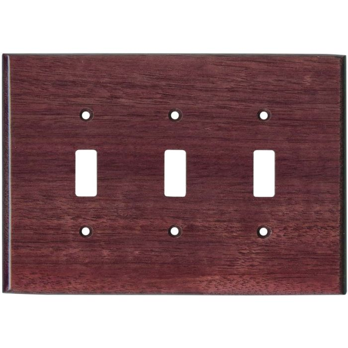 Purpleheart Satin Lacquer - 3 Toggle Light Switch Covers