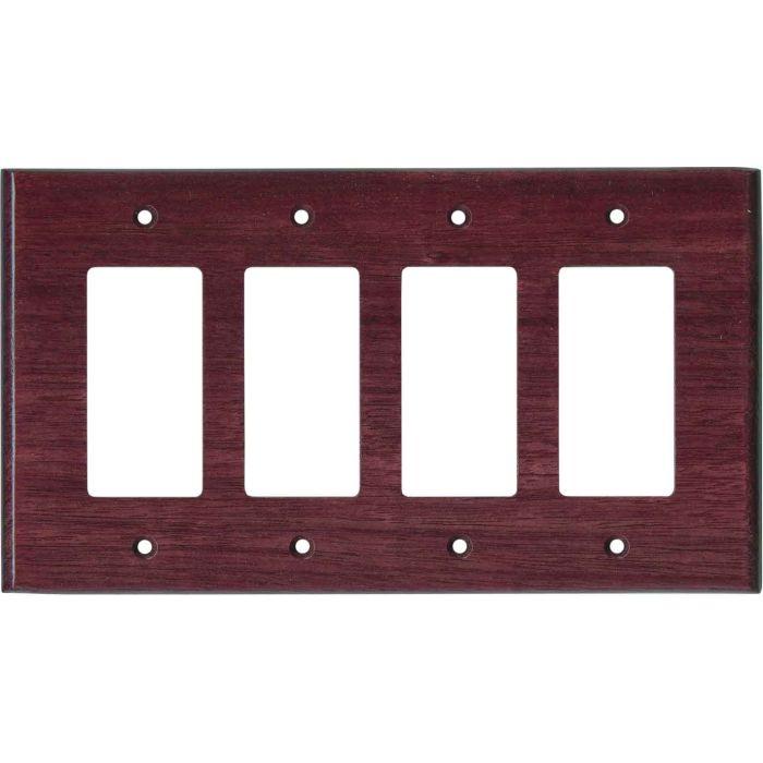 Purpleheart Satin Lacquer 4 Rocker GFCI Decorator Switch Plates
