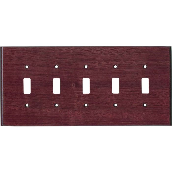 Purpleheart Satin Lacquer 5 Toggle Wall Switch Plates