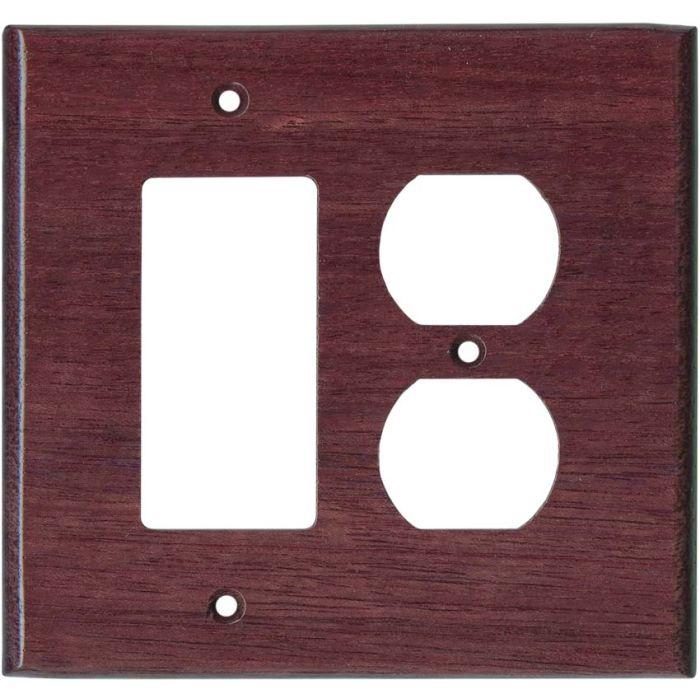 Purpleheart Satin Lacquer Combination GFCI Rocker / Duplex Outlet Wall Plates
