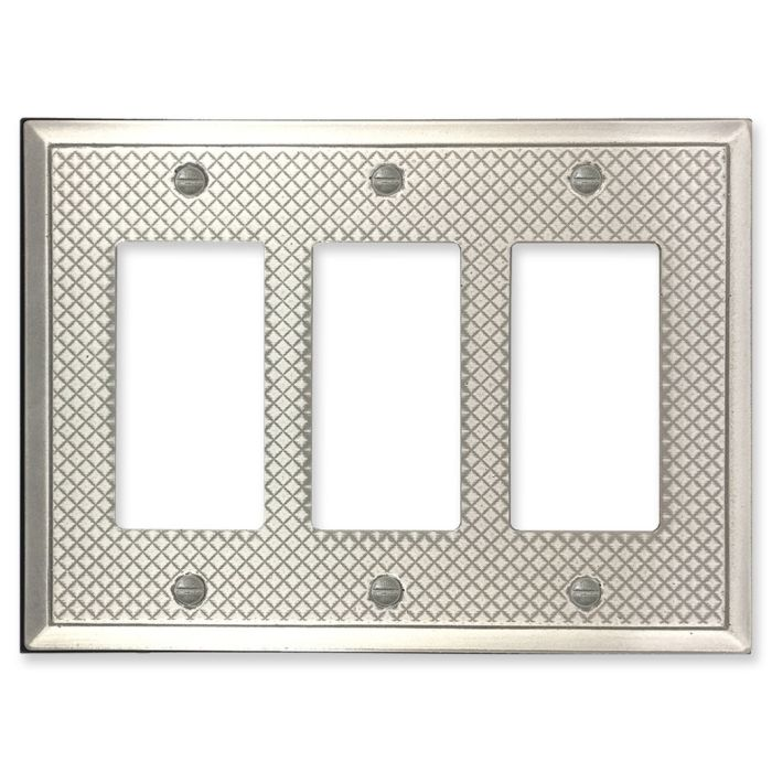 Pyramid Brushed Nickel Triple 3 Rocker GFCI Decora Light Switch Covers