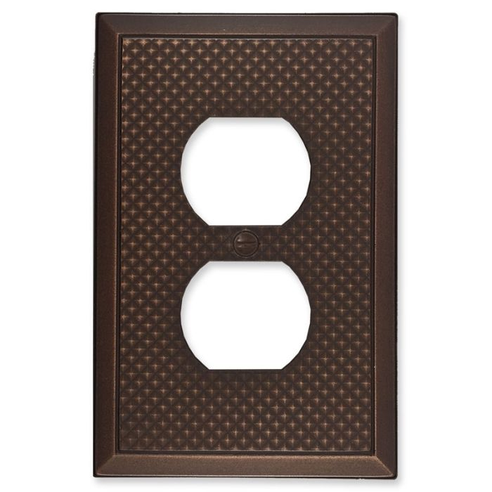 Pyramid Oil Rubbed Bronze 1 Gang Duplex Outlet Cover Wall Plate