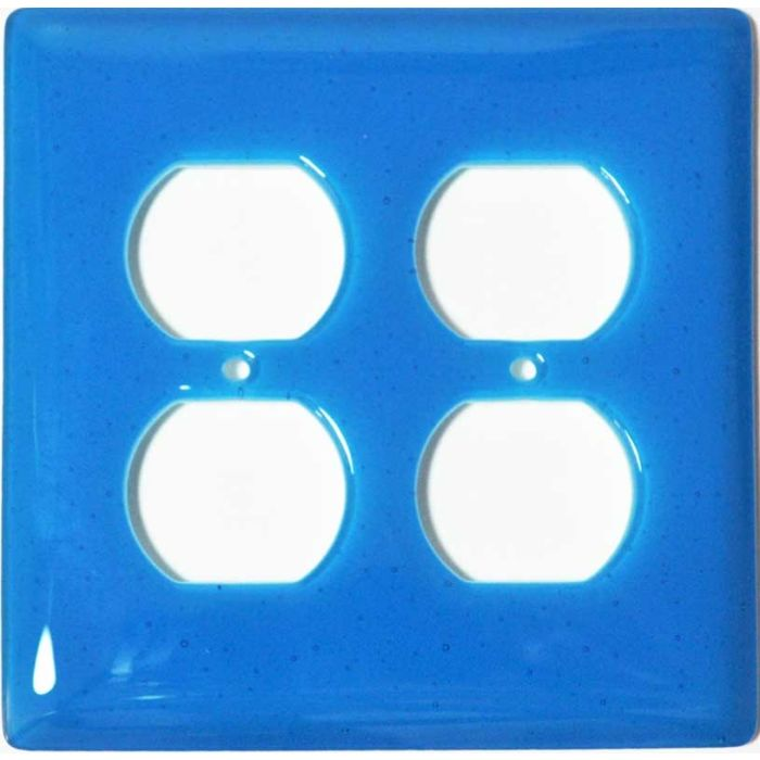 Turquoise Blue Glass 2 Gang Duplex Outlet Wall Plate Cover