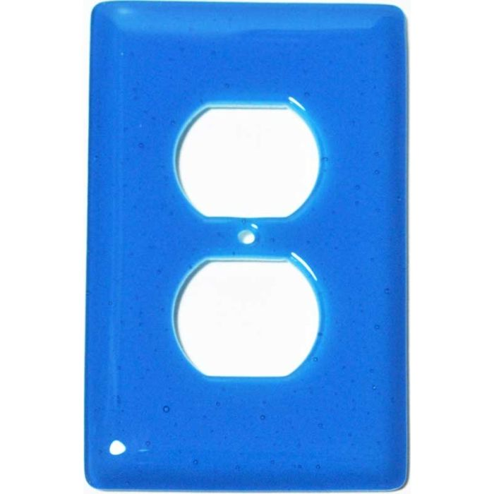 Turquoise Blue Glass 1 Gang Duplex Outlet Cover Wall Plate