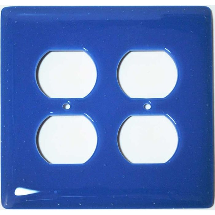 Egyptian Blue Glass 2 Gang Duplex Outlet Wall Plate Cover