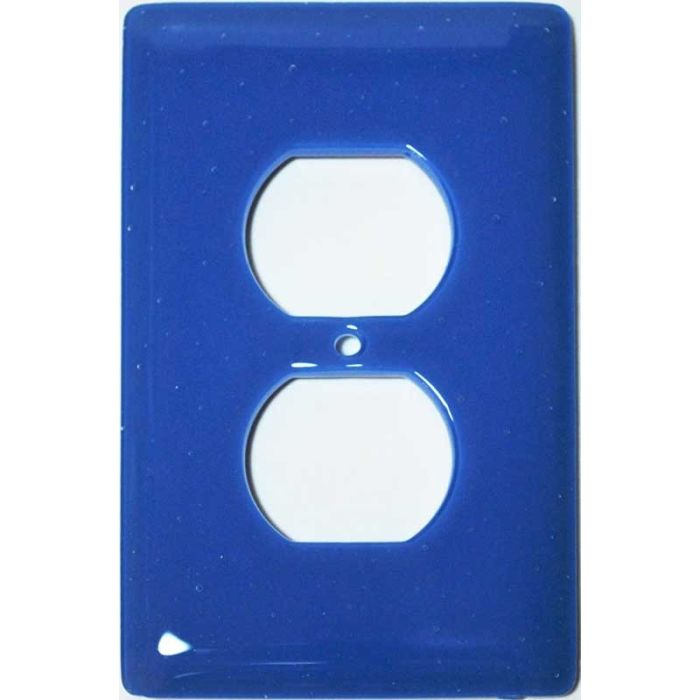 Egyptian Blue Glass 1 Gang Duplex Outlet Cover Wall Plate