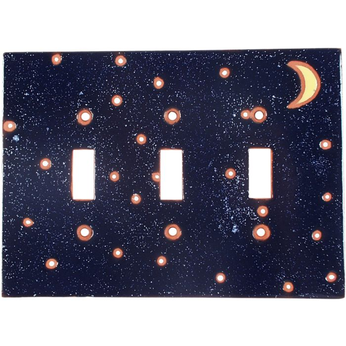 Quarter Moon Triple 3 Toggle Light Switch Covers