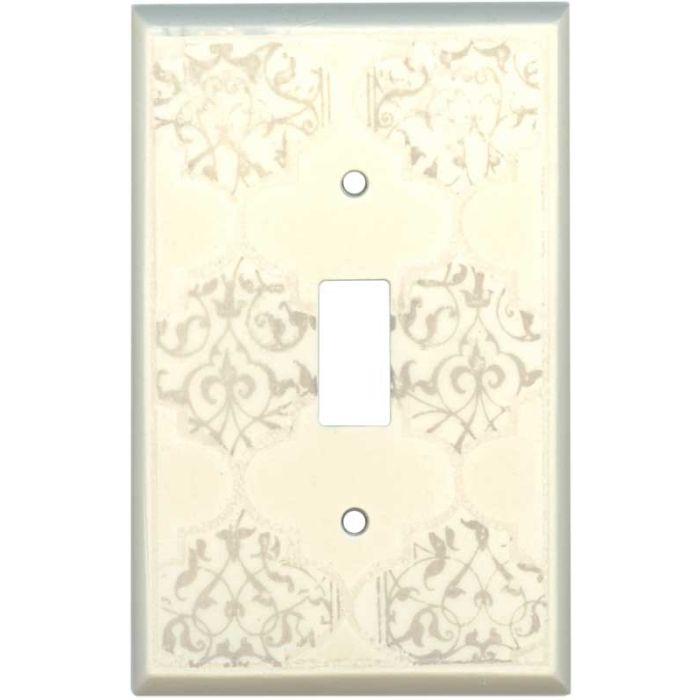 Quatrefoil Neutral Ceramic1 Toggle Light Switch Cover