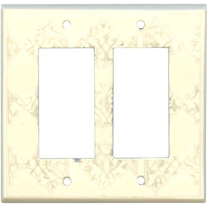 Quatrefoil Neutral Ceramic2-Gang Decorator / GFCI Rocker Wall Plate Cover