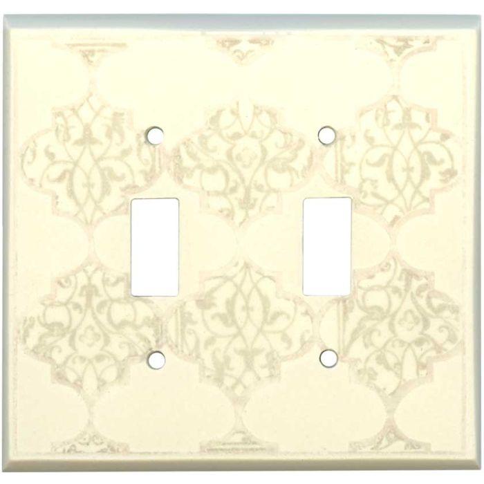 Quatrefoil Neutral Ceramic2 Toggle Switch Plates