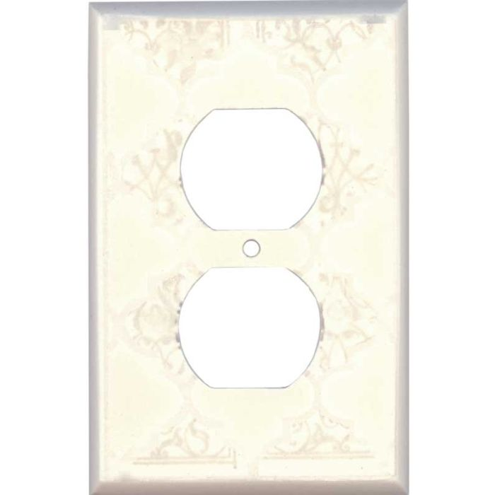 Quatrefoil Neutral Ceramic1 - Gang Duplex Outlet Cover Wall Plate