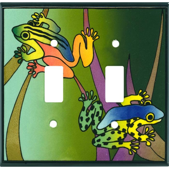 Rain Forest Ceramic Double 2 Toggle Switch Plate Covers