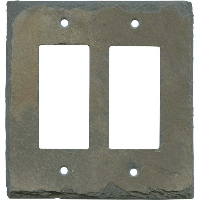 Vermont Recycled Slate 2 Gang Double GFCI Rocker Decorator Wallplates