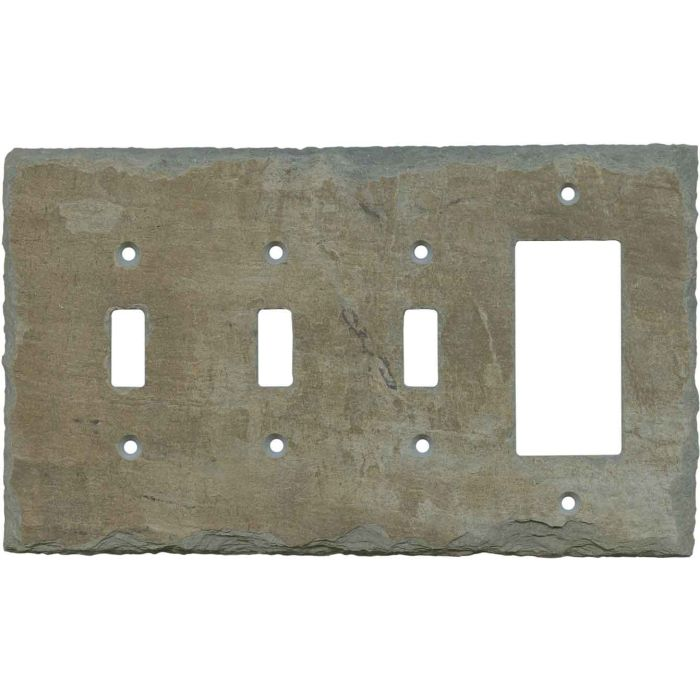 Vermont Recycled Slate Triple 3 Toggle / 1 Rocker GFCI Switch Covers