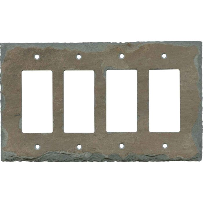 Vermont Recycled Slate 4 Rocker GFCI Decorator Switch Plates