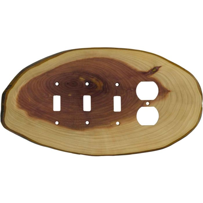 Red Cedar Slice3-Toggle / 1-Duplex - Combination Wall Plates