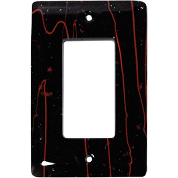 Red Mardi Gras Black Glass Single 1 Gang GFCI Rocker Decora Switch Plate Cover