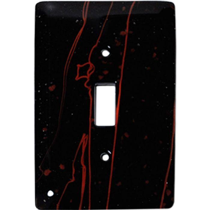 Red Mardi Gras Black Glass Single 1 Toggle Light Switch Plates