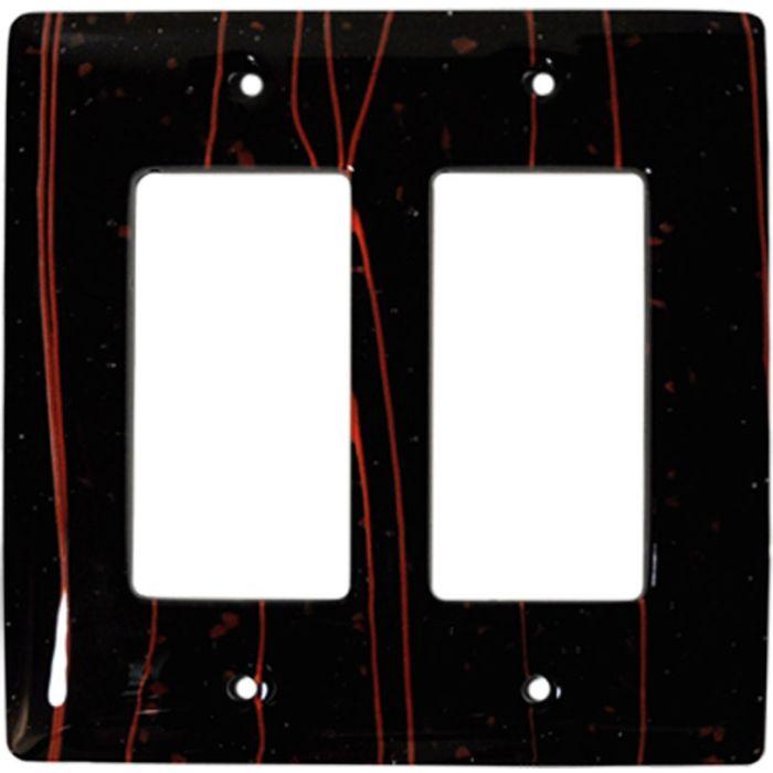 Red Mardi Gras Black Glass 2 Gang Double GFCI Rocker Decorator Wallplates