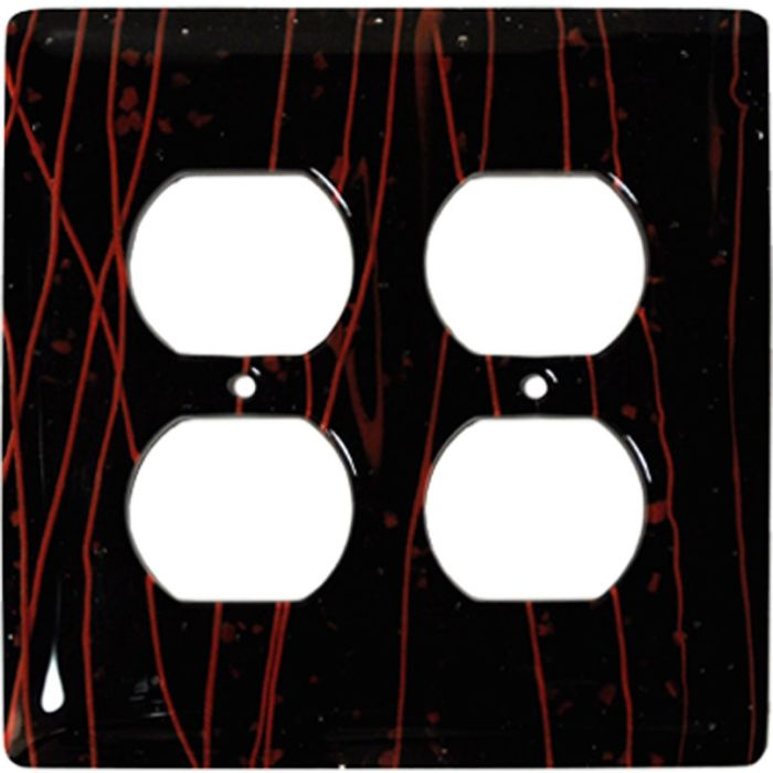 Red Mardi Gras Black Glass 2 Gang Duplex Outlet Wall Plate Cover