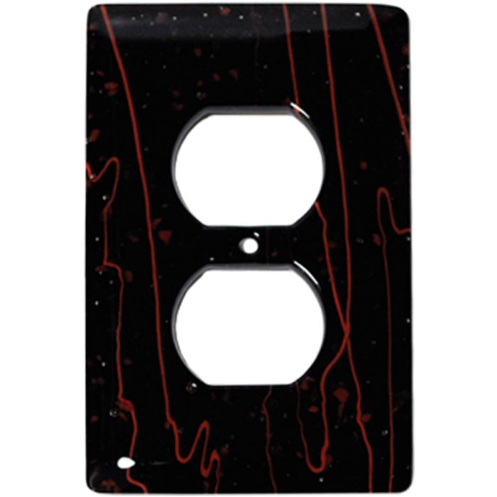 Red Mardi Gras Black Glass 1 Gang Duplex Outlet Cover Wall Plate