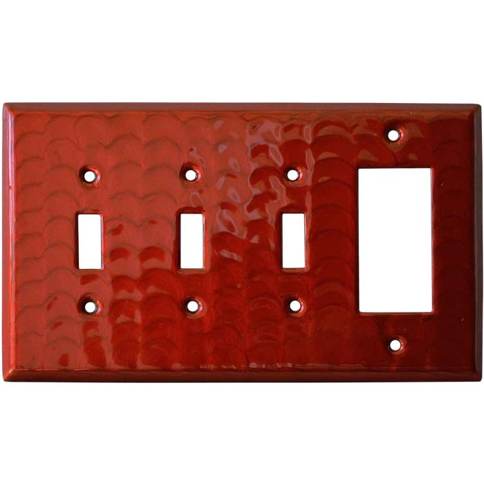 Red Motion Triple 3 Toggle / 1 Rocker GFCI Switch Covers
