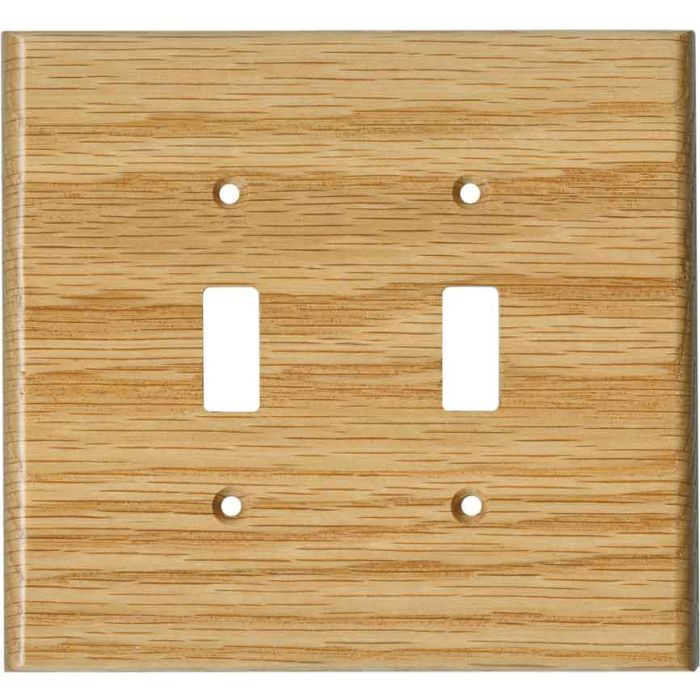 Red Oak Satin Lacquer Double 2 Toggle Switch Plate Covers