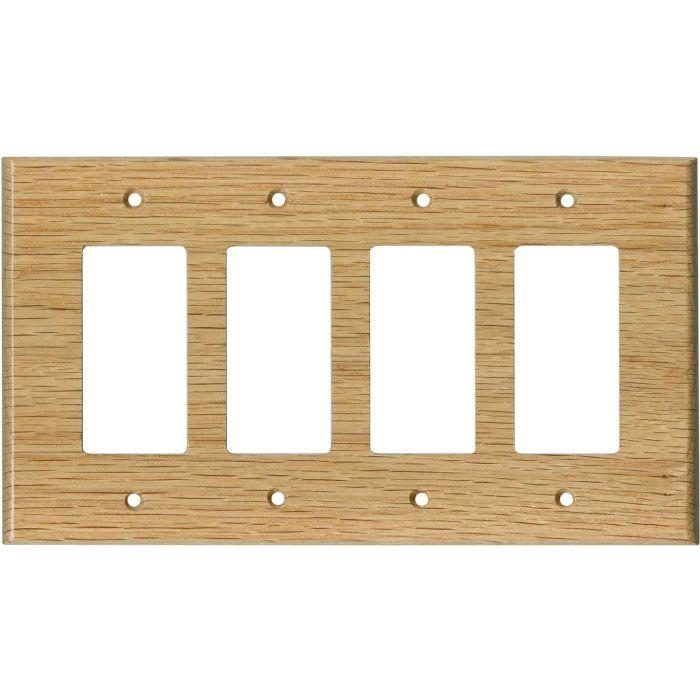 Red Oak Satin Lacquer - 4 Rocker GFCI Decora Switch Plates