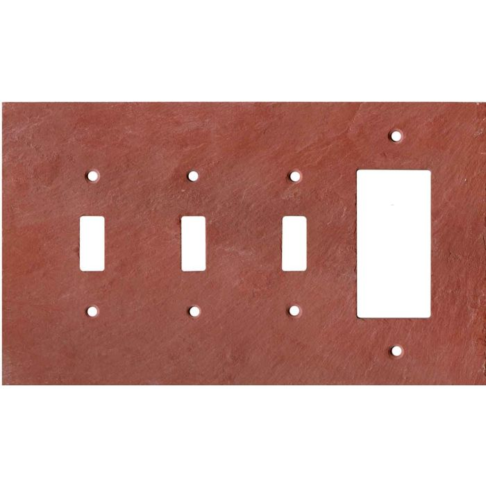 Vermont Red Slate Triple 3 Toggle / 1 Rocker GFCI Switch Covers