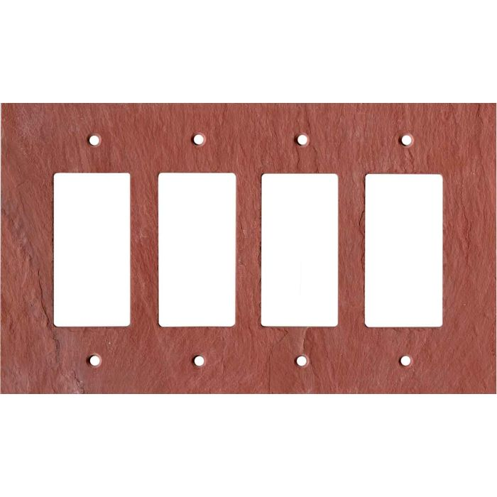 Vermont Red Slate 4 Rocker GFCI Decorator Switch Plates
