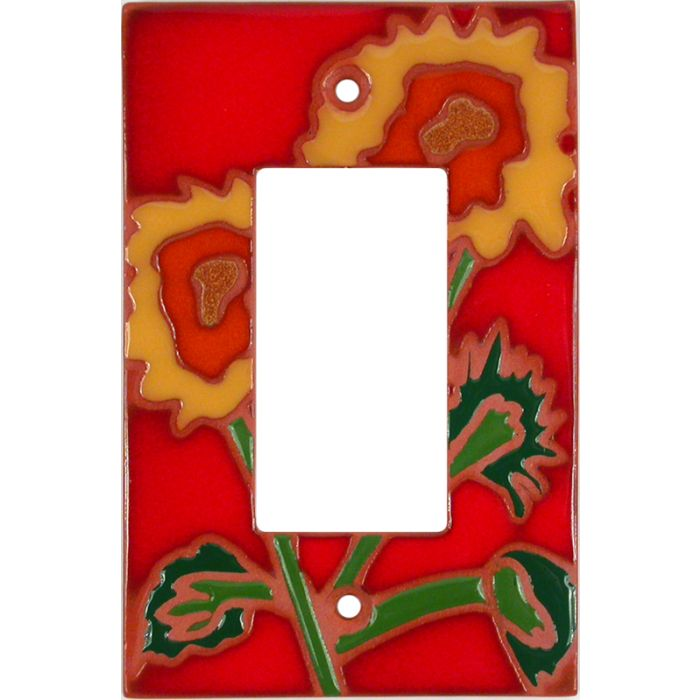 Red Sunflower - GFCI Rocker Switch Plate Covers