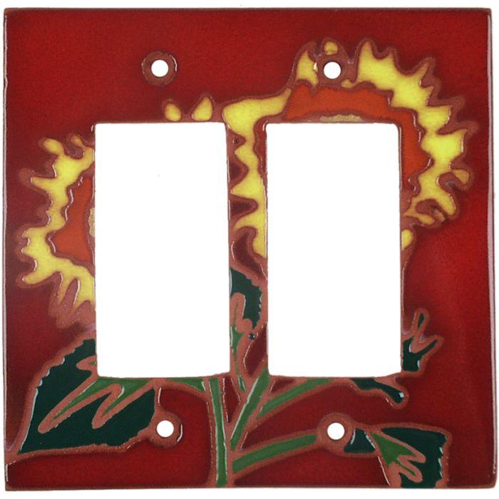 Red Sunflower 2 Gang Double GFCI Rocker Decorator Wallplates
