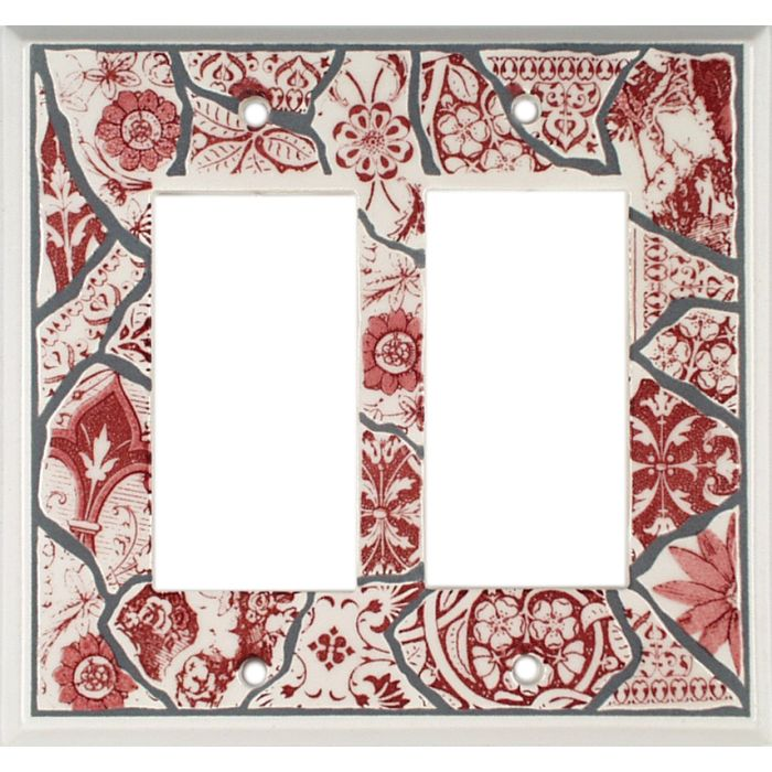 Red Transferware Ceramic2-Gang Decorator / GFCI Rocker Wall Plate Cover