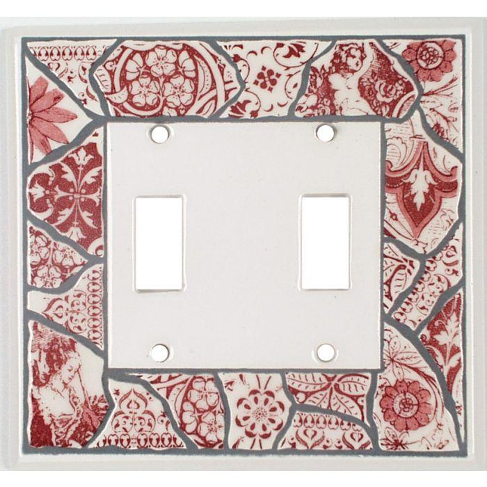 Red Transferware Ceramic2 Toggle Switch Plates