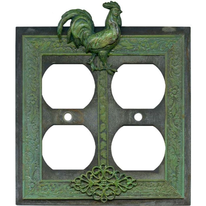 Rooster 2 Gang Duplex Outlet Wall Plate Cover