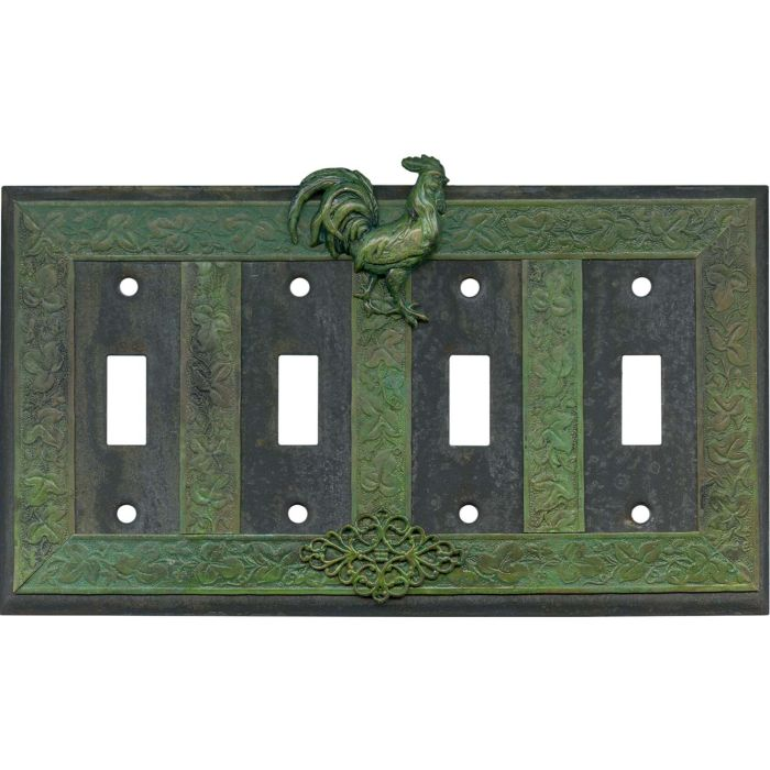 Rooster Quad 4 Toggle Light Switch Covers