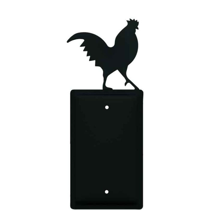 Rooster Black Blank Wall Plate Cover